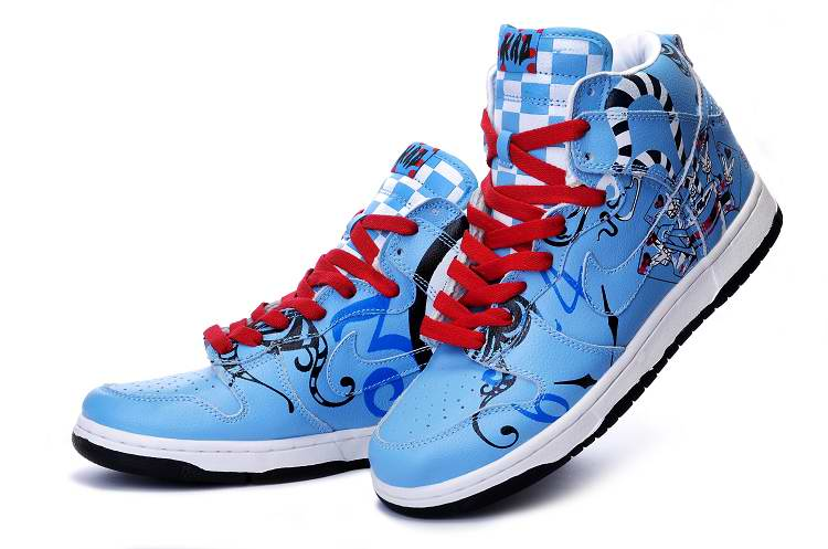 separation shoes 4e78f da842 Mad Hatter Nike SB Dunk High Tops Shoes For Sale Blue
