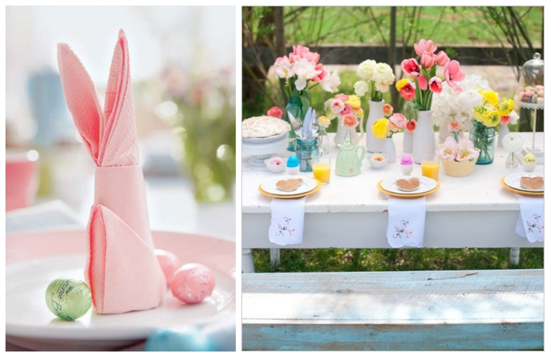 Bunny Napkin By Martha Tutorial Here 2 Spring Pastels Wedding Tablescape Unknown