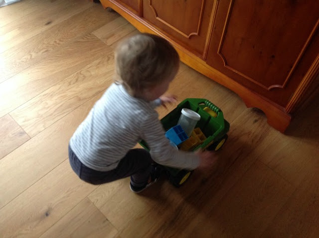 toddler with truck