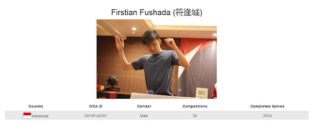Profile akun WCA dari Firstian Fushada yang merupakan peringkat pertama sekaligus pemegang rekor nasional menyelesaikan rubik megaminx kategori single