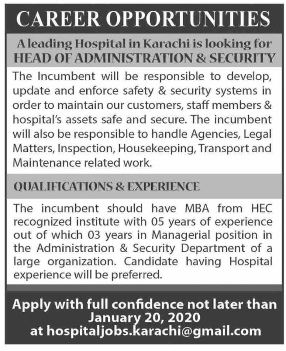 Hospital Jobs in Karachi 2020