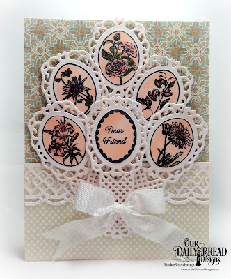 Our Daily Bread Designs Stamp Set: Lovely Flower, Custom Dies: Fancy Fan, Beautiful Borders, Paper Collections: Cozy Quilt, Pastel