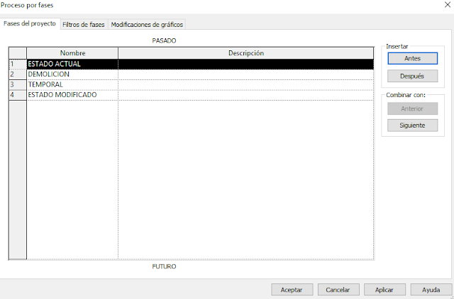 Captura de pantalla de Revit: fases de un proyecto de rehabilitación