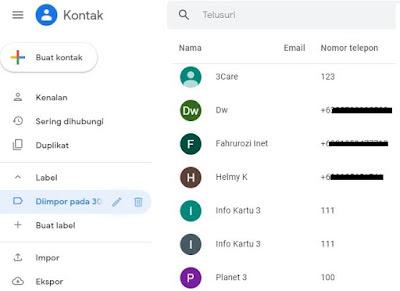 penyimpanan google contact
