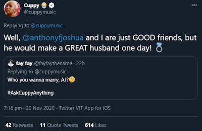 cuppy joshua tweet