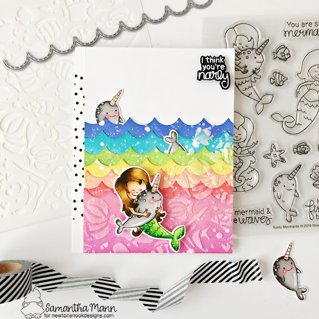 You're so Narly Card by Samantha Mann | Narly Mermaids Stamp Set and Tropical Fish Stencil by Newton's Nook Designs #newtonsnook #handmade