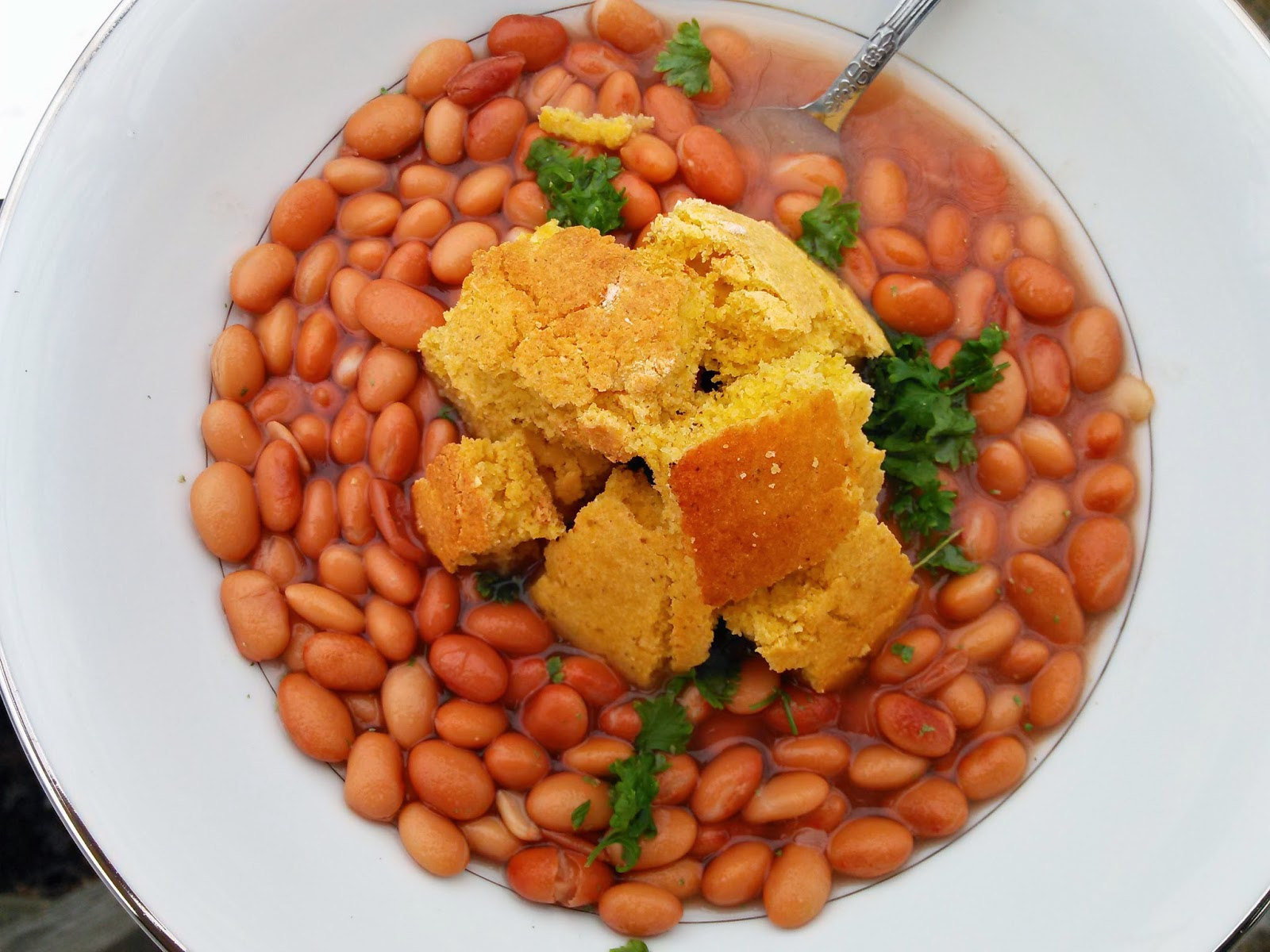 Pinto Beans with Cornbread Croutons