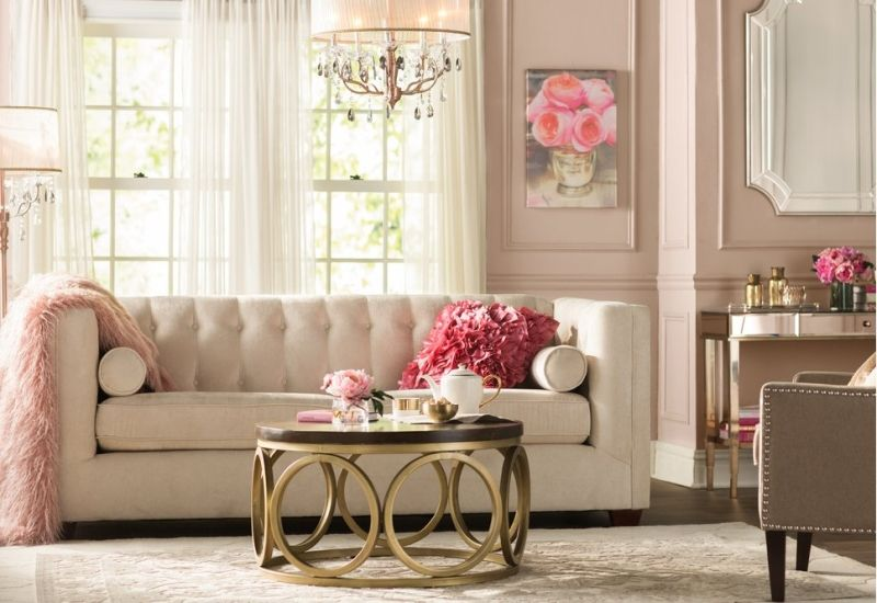 Living Room Idea : Glam Living Room