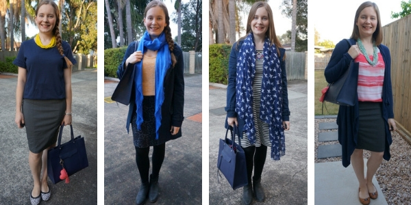 4 ways to wear a navy bag matching other navy pieces in your outfit | away from blue