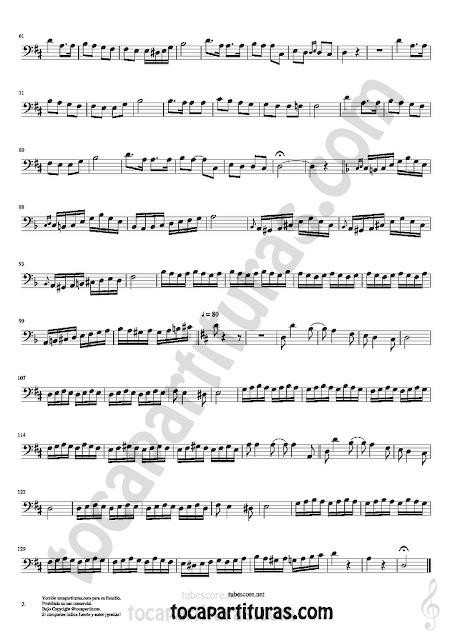 Hoja 2  Partitura de Czardas en Clave de Fa para Trombón, Chelo, Fagot, Bombardino... Sheet Music for Bass Clef trombone cello bassoon euphonium... Music Scores
