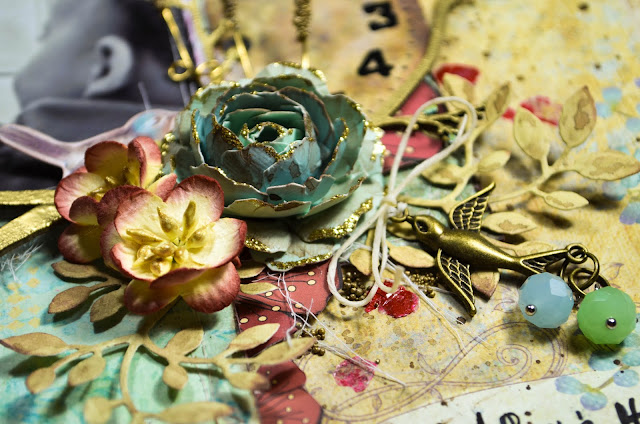A Boy and His Cat Layout by Carrie Williams - Dearzae.com - Mixed Media scrapbook page in antique gold and soft blue with pops of red - With Blue Fern Studios chipboard heat embossed with antique gold embossing powder, handmade flowers available at dearzae.etsy.com, wild orchid flowers, metal beaded charm