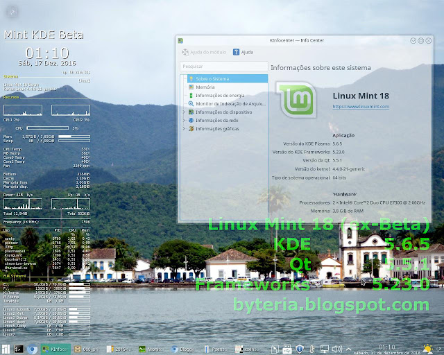 Linux Mint 18 KDE, antes do upgrade para KDE 5.8.4, Qt 5.6.1 e Frameworks 5.28.0