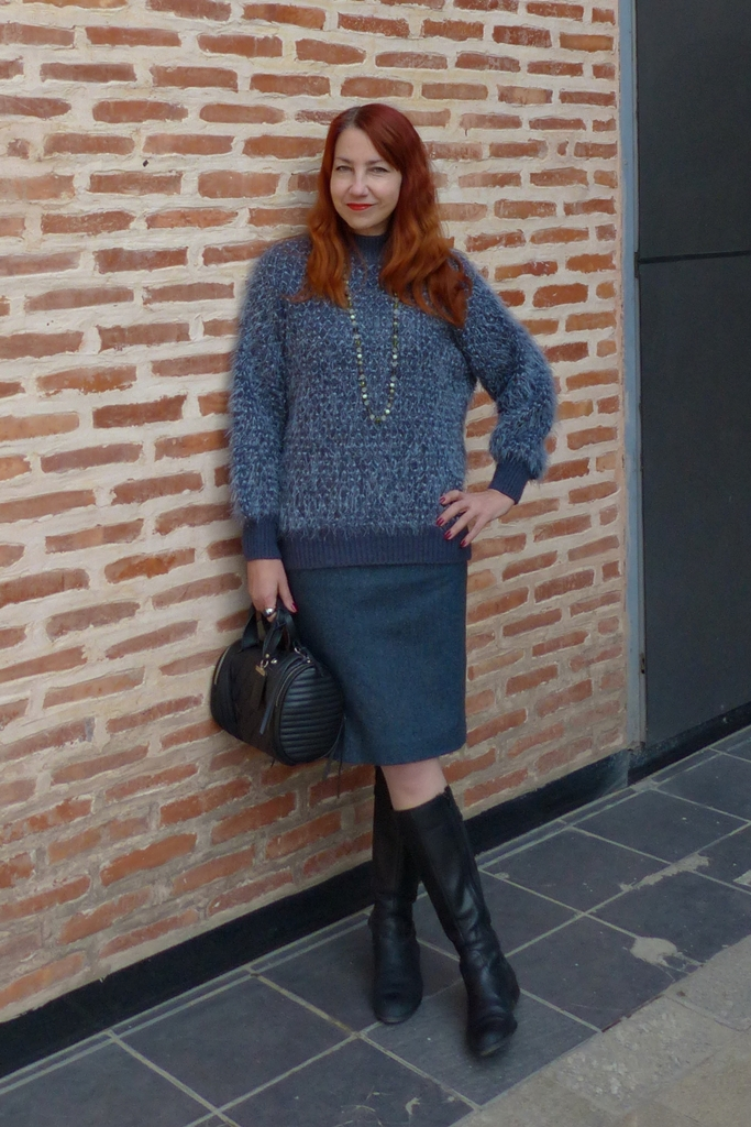 fluffy sweater, pencil dress, high boots and barrel handbag