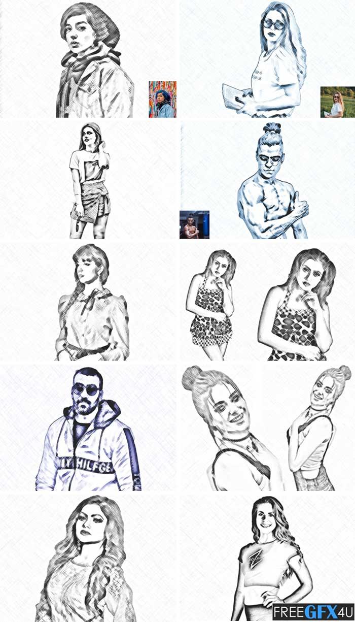 Digital Pencil Sketch PS Action
