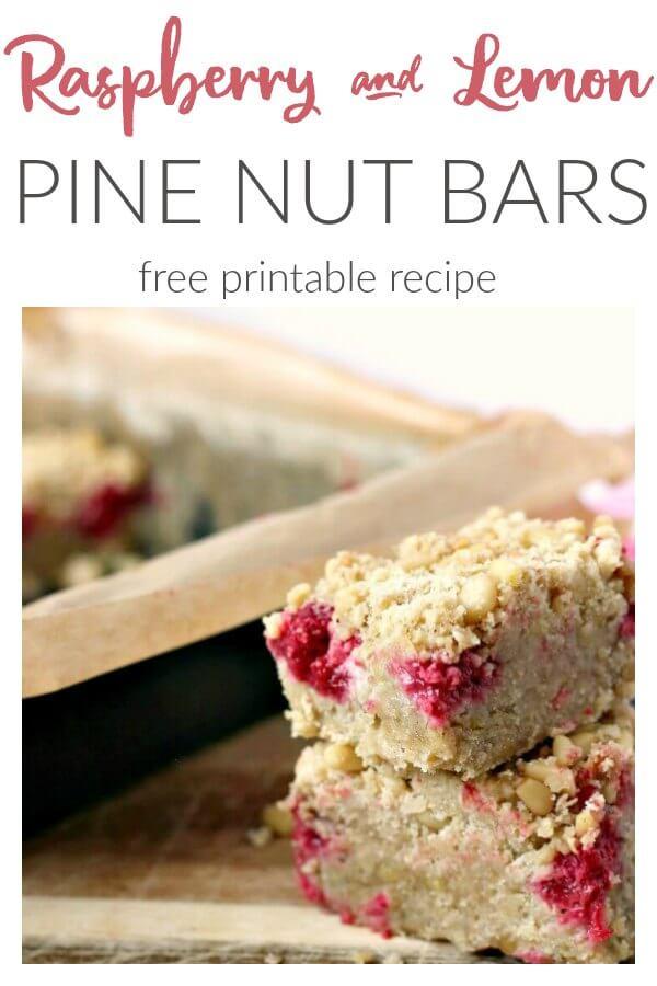Raspberry, Lemon and Pine Nut Bars