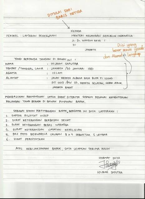 ditulis pada kertas folio bergaris dengan goresan pena tangan Contoh Surat Melamar Cpns/Pekerjaan