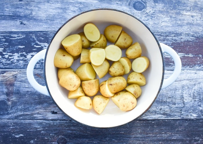 potatoes in a cast iron pot