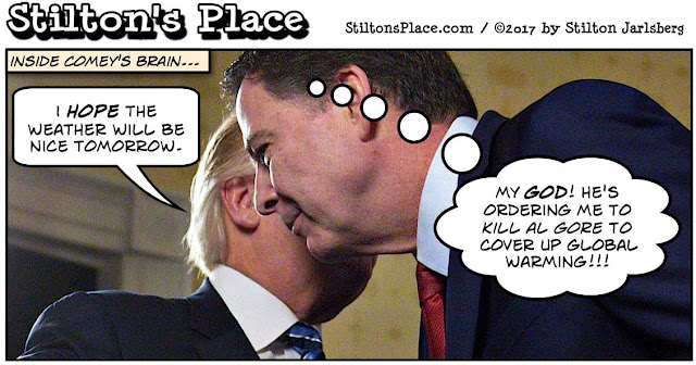 stilton's place, stilton, political, humor, conservative, cartoons, jokes, hope n' change, comey, fbi, book, clintons, trump, al gore