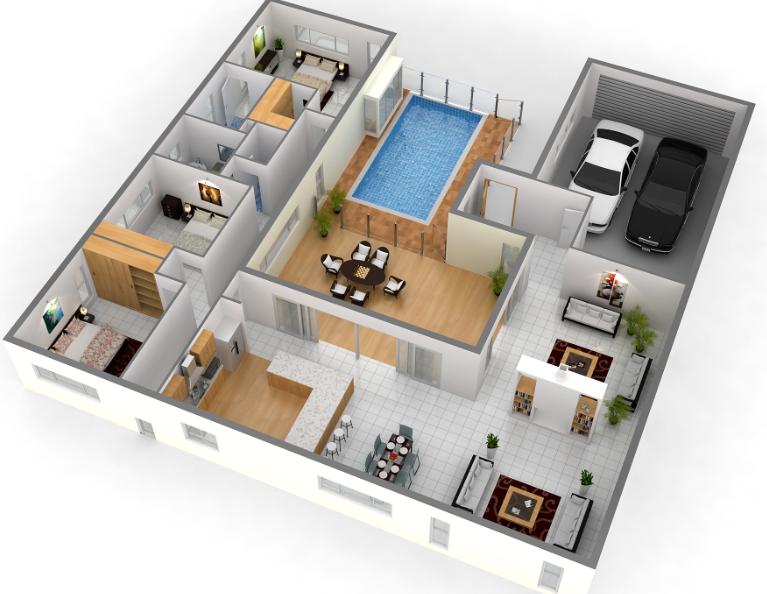 تصميم ومخطط للمنزل ثلاثية الأبعاد