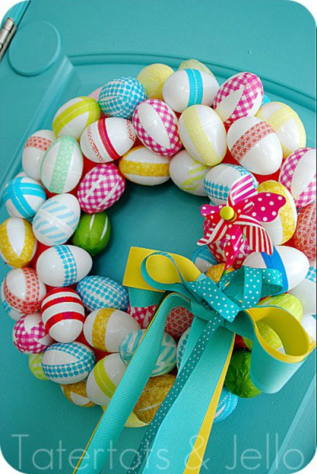 DIY Washi Tape Easter Egg Wreath - love this idea!