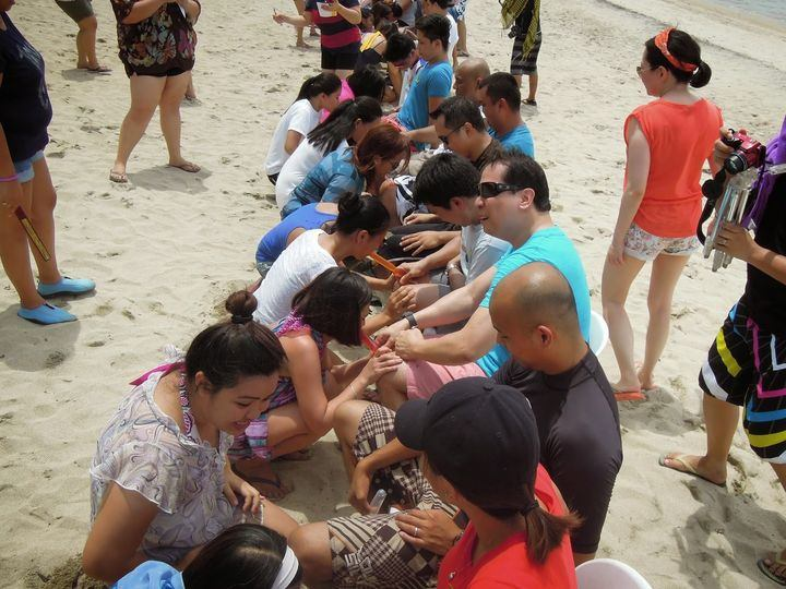 Team-building activity at Laiya Coco Grove Beach Resort