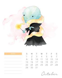 Calendario 2017 de  Harry Potter para Imprimir Gratis  Octubre.