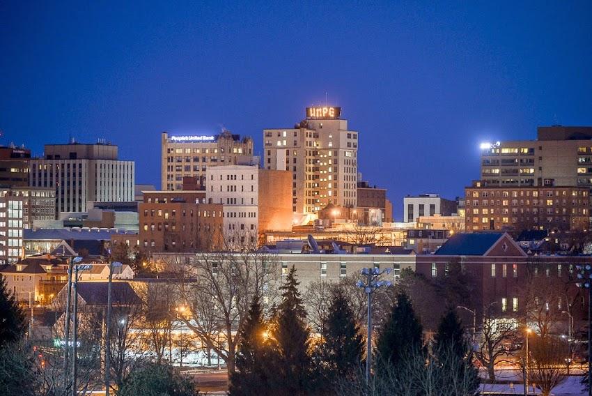 Portland, Maine March 2015 Night Skyline with downtown ...