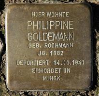 Stolperstein for Gustav Goldeman's first wife, Phillippine (nee Rothman) Goldemann