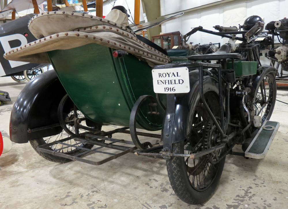 Rear of 1916 Royal Enfield sidecar.