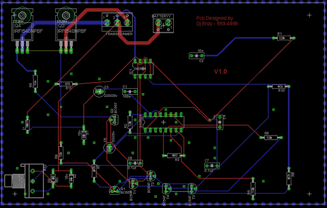 SG3525 PCB track side layout