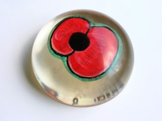 Handmade Poppy flower within a paperweight