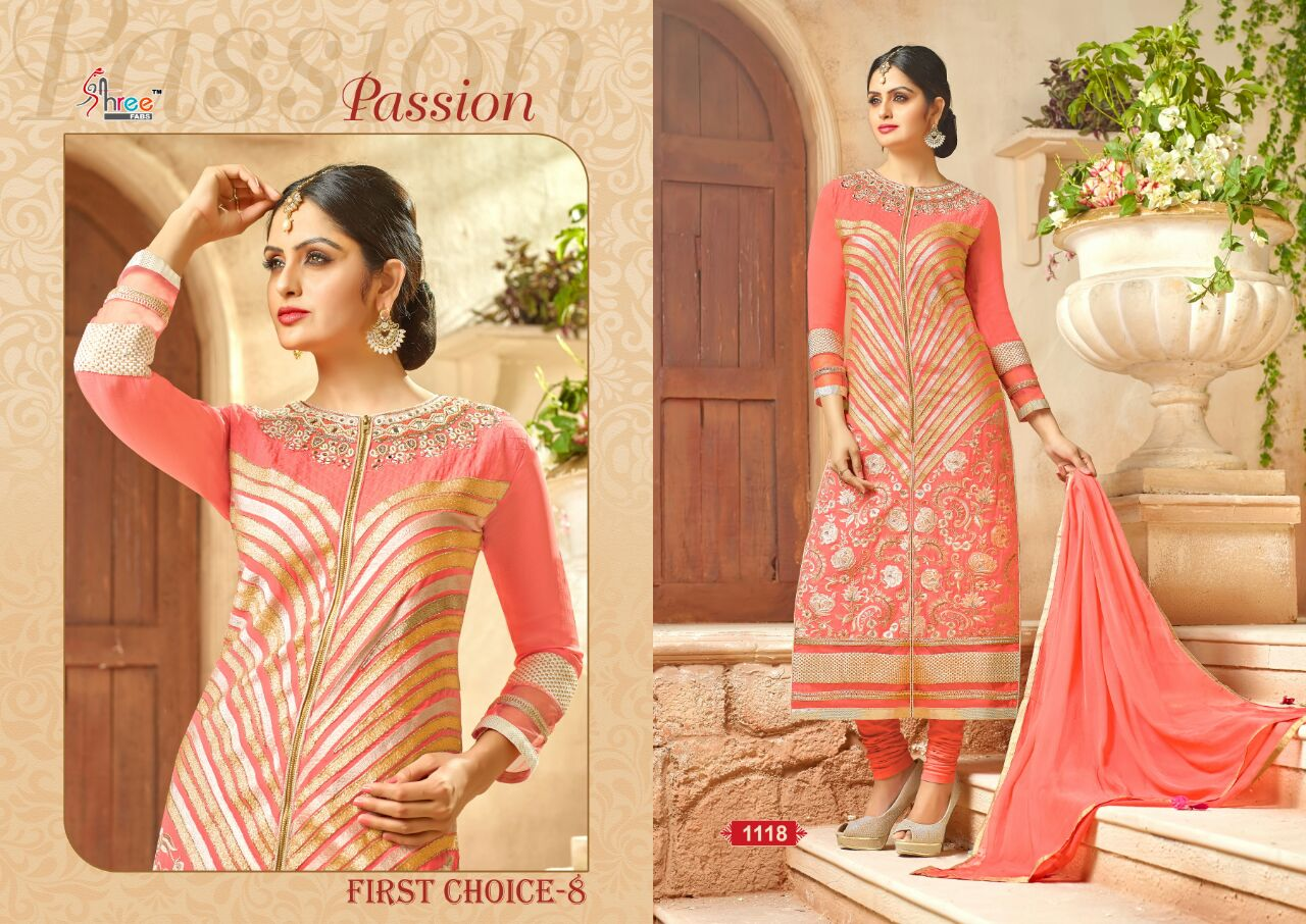 First Choice-8- Faux Georgette Stylish Semi Stitched Salawar Suit