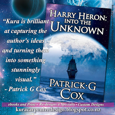 """Harry Heron: into the unknown"", author Patrick G Cox, book cover designed by Kura Carpenter"