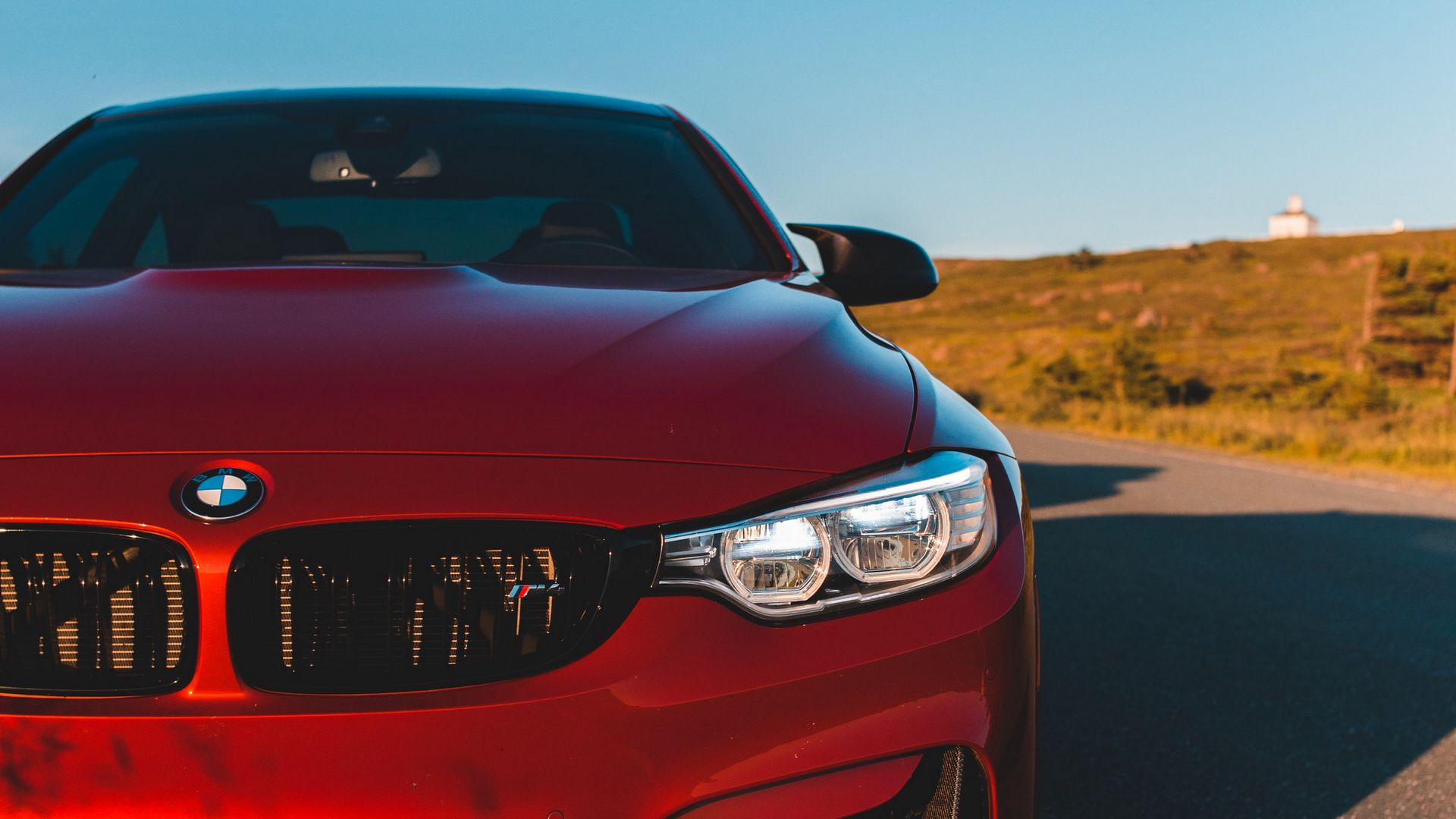 Red BMW M4 Front View