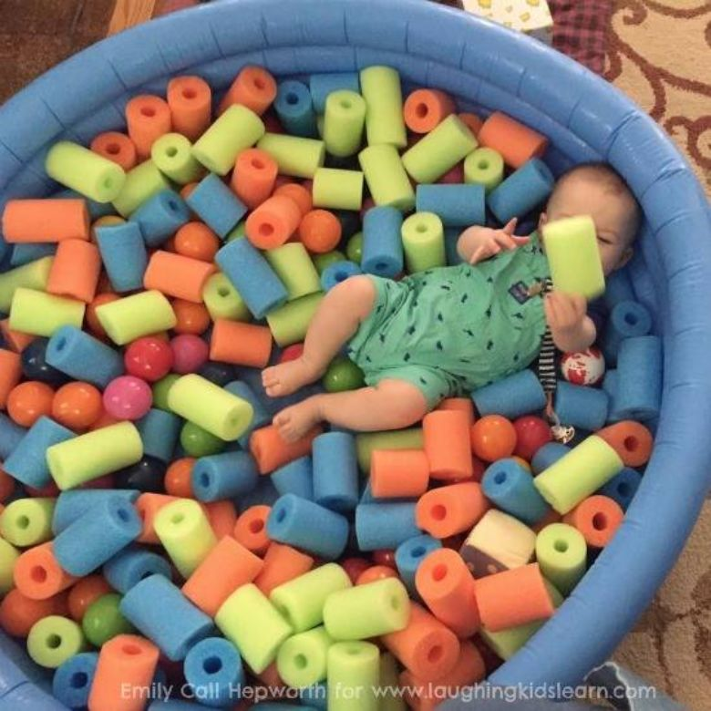 activities for babies - pool noodle baby play space