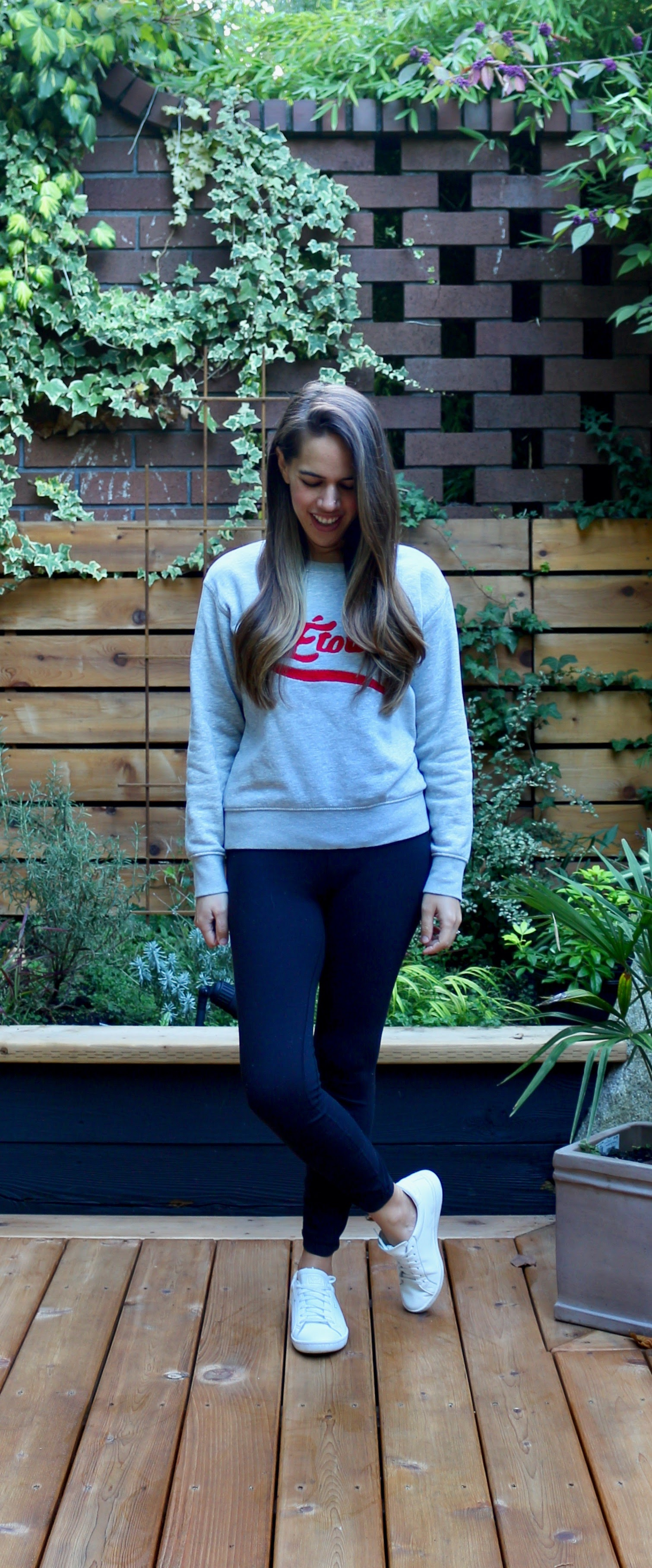 Jules in Flats - WFH Outfit - Graphic Sweatshirt + Leggings (Business Casual Workwear on a Budget)