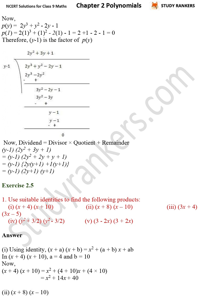NCERT Solutions for Class 9 Maths Chapter 2 Polynomials Part 18