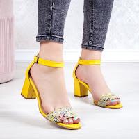 Sandale dama Piele galbene cu flori