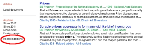 Google Scholar Blog: Search recent additions, sorted by date