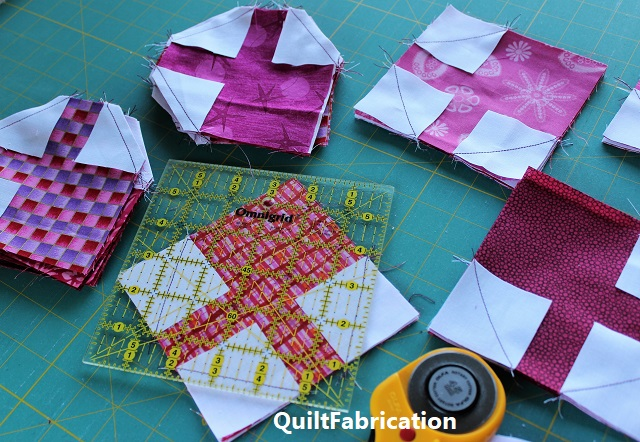 stacked and trimmed quilt block units