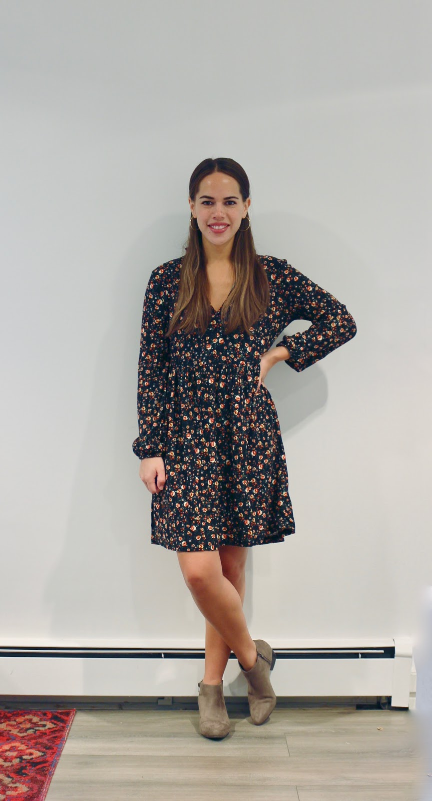 Jules in Flats - Zara Floral Mini Dress (Business Casual Fall Workwear on a Budget)