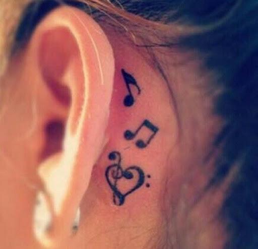 Notas de música Atrás da Orelha Tatuagem
