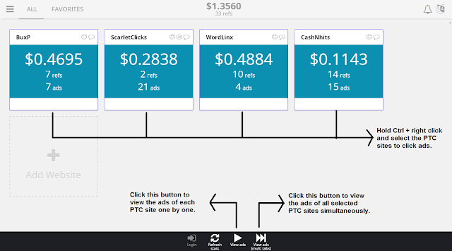 Clicking ads on multiple PTC sites at same time on Buxenger