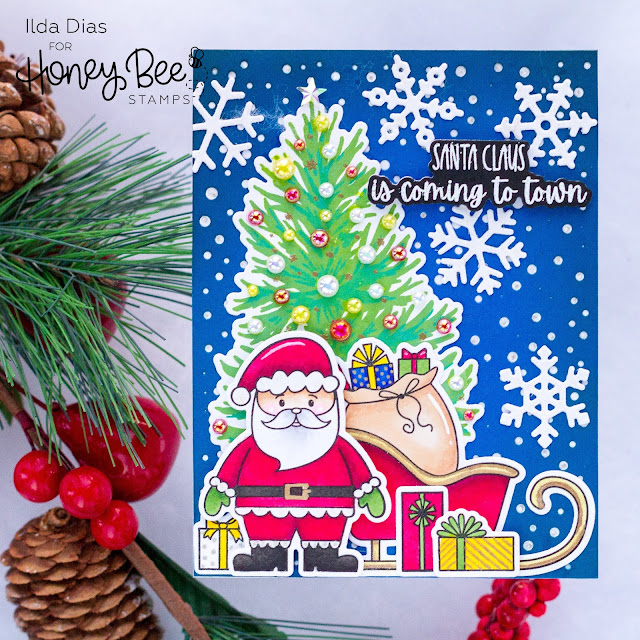 Santa Claus, Is Coming To Town, Christmas Card,Honey Bee Stamps,Card Making, Stamping, Die Cutting, handmade card, ilovedoingallthingscrafty, Stamps, how to, Santa's Village, Farmhouse Tree Builder Stamps