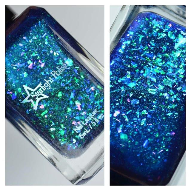 blue flakie nail polish in a bottle