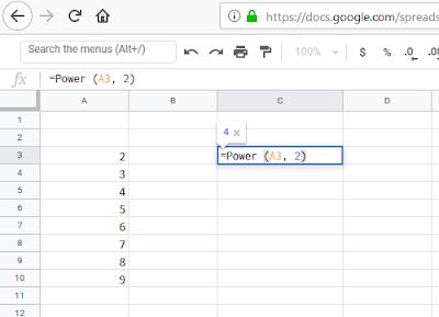 كيفية القيام بحساب الأسي للأرقام في مجموعة من الخلايا في Excel