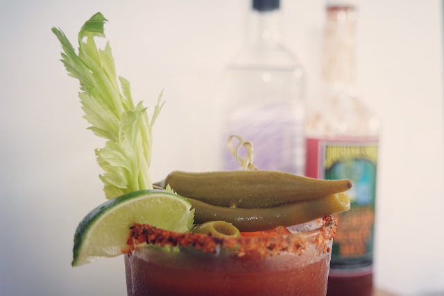 Bloody Mary made with Louisiana Sisters Bloody Mary Mix, Jay D's Louisiana Barbecue Sauce and Oryza Vodka
