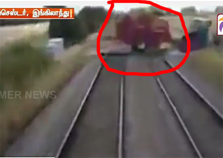 Viral video showing farmer narrowly escapes from a train
