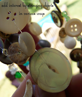 Use your imagination when stringing your buttons.  It's okay if the buttons touch.  Your wind chime will make more noise that way!  Also, add beads and any other items you have on hand to make your wind chime more interesting.