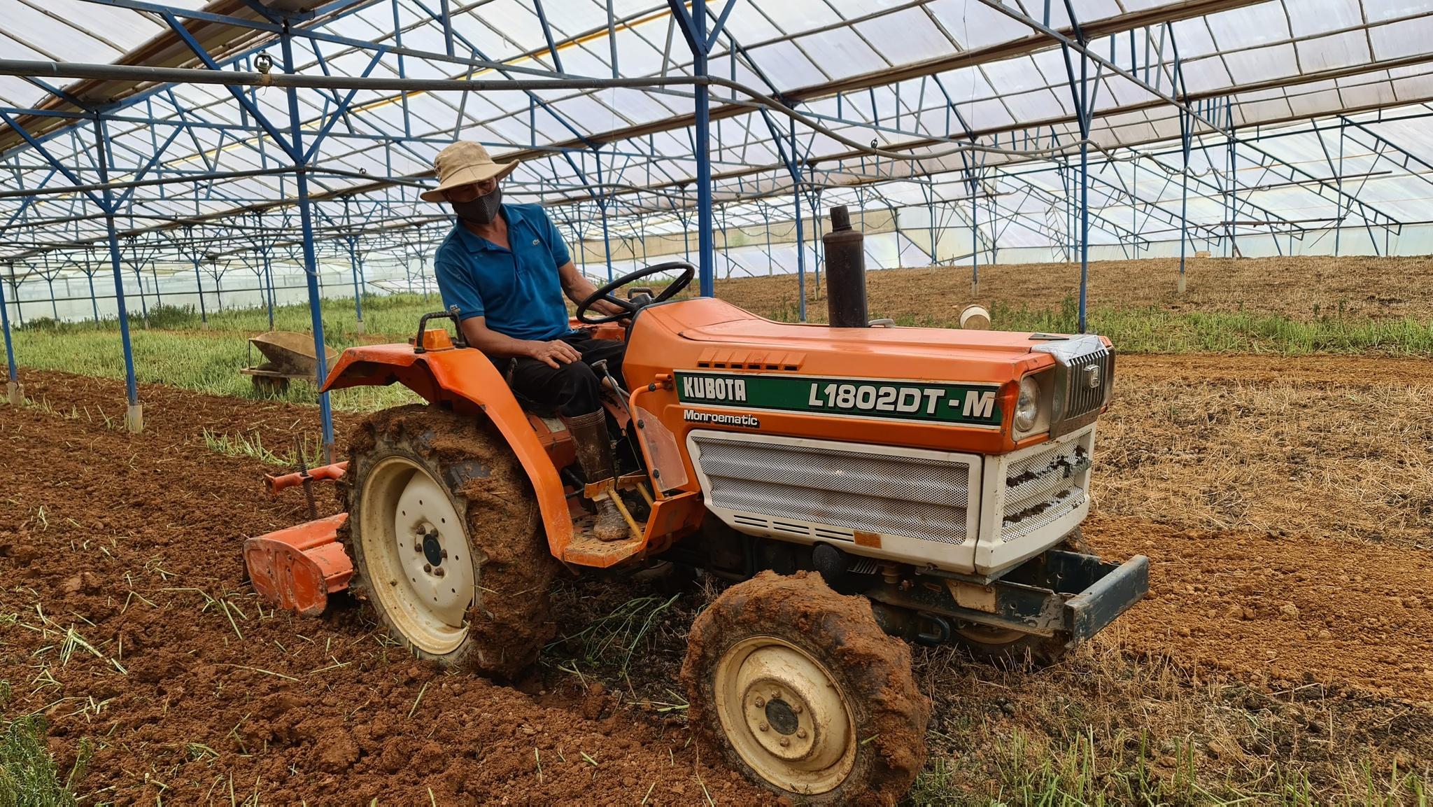 Nông dân cày đất sau khi các nhóm từ thiện thu hoạch xong. Ảnh: Lâm Viên